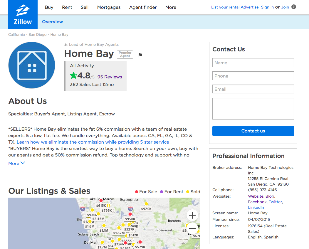 Screenshot of Home Bay's profile on Zillow