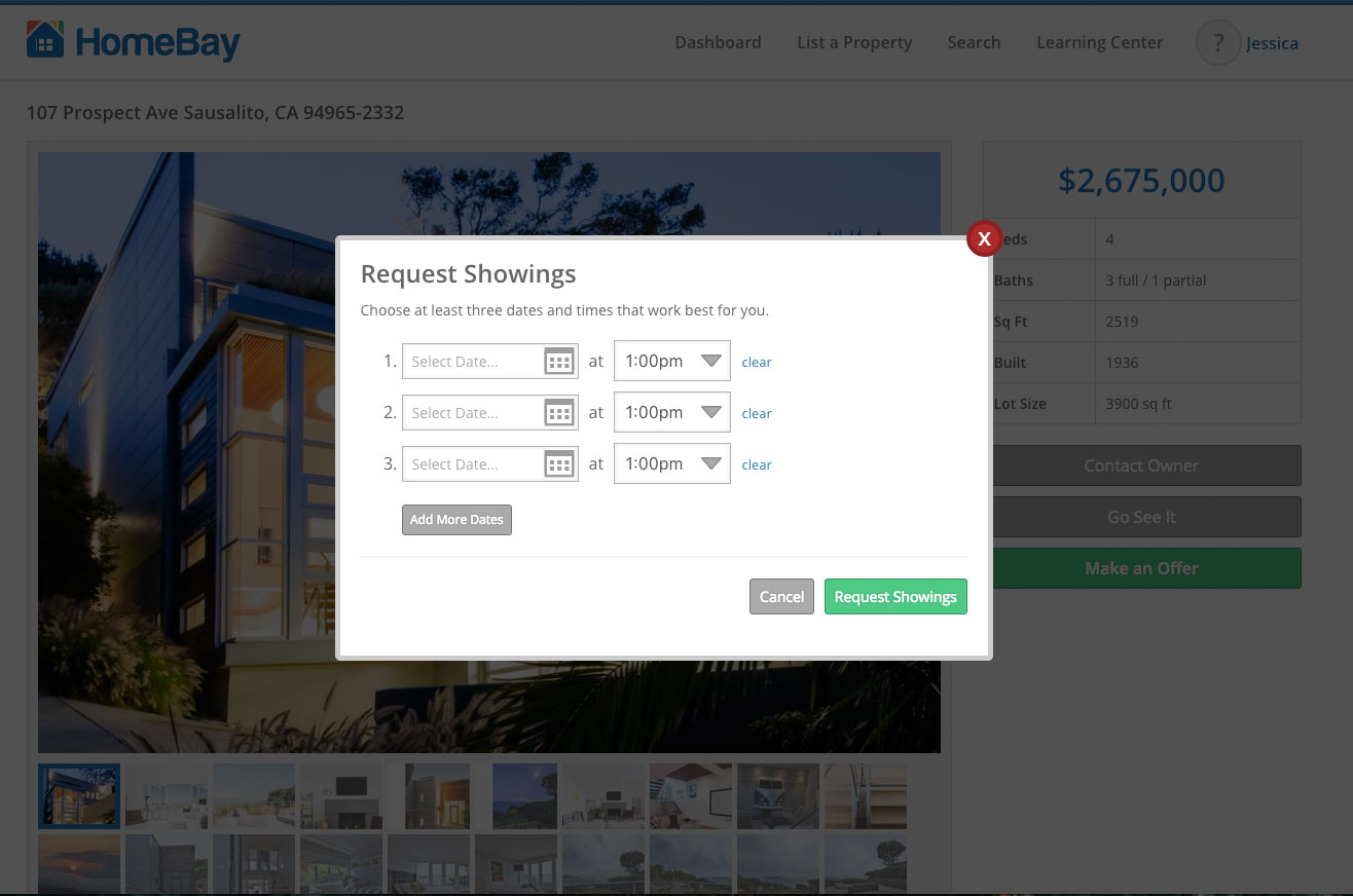 Request property showings on Home Bay